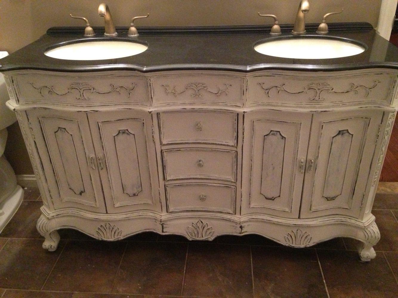 Refinished Bathroom Vanity In White Chalk Pant . Like Us On Facebook Deja  Vu Furniture Design