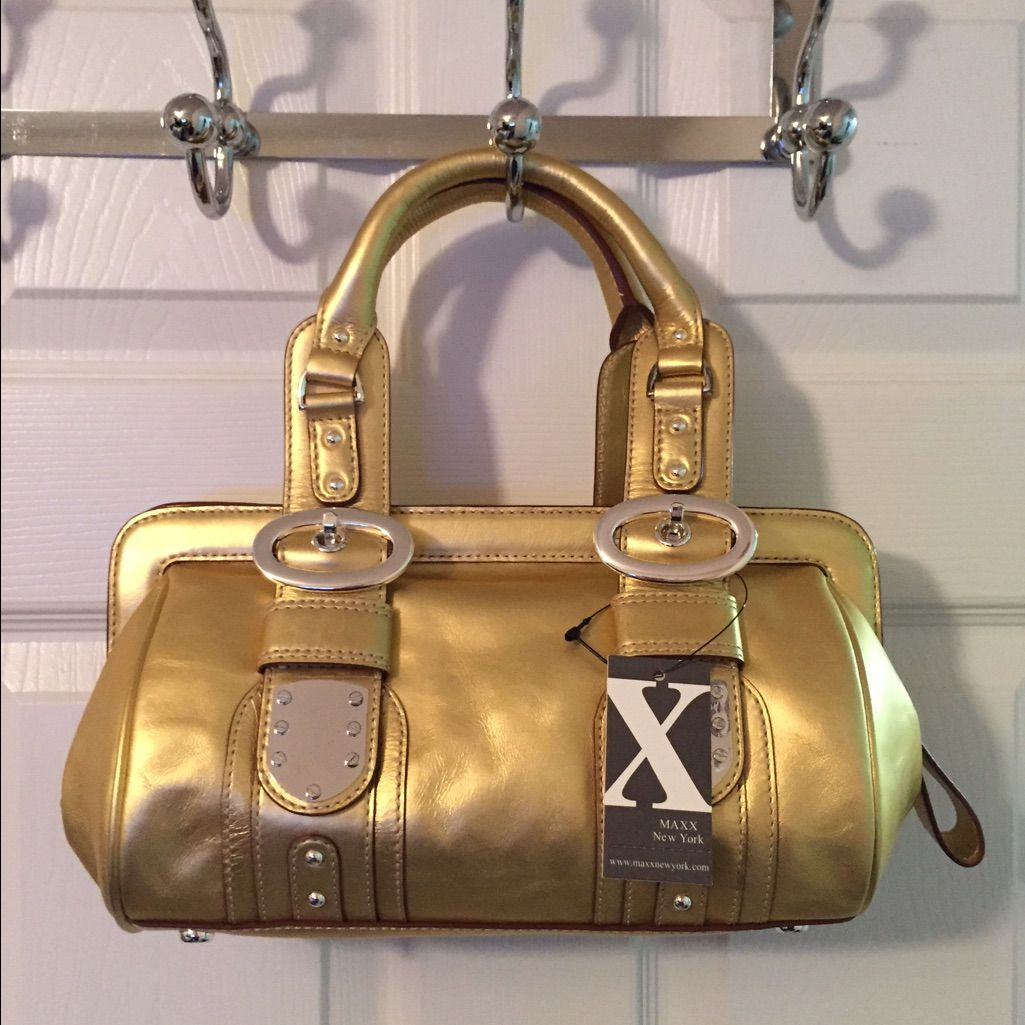 Maxx New York Gold Leather Tote Bag | Gold leather, Tote bag and ...