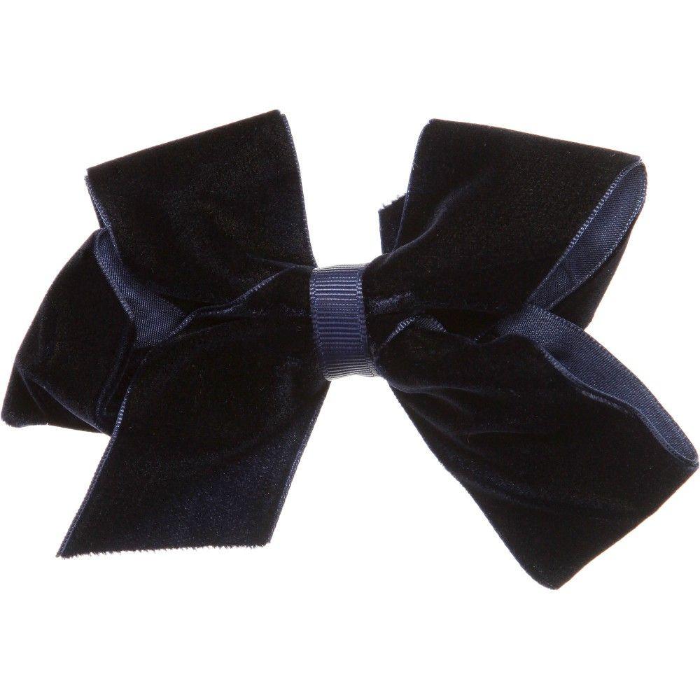 Bowtique London Navy Blue Velvet Bow Hair Clip (11.5cm) at Childrensalon.com