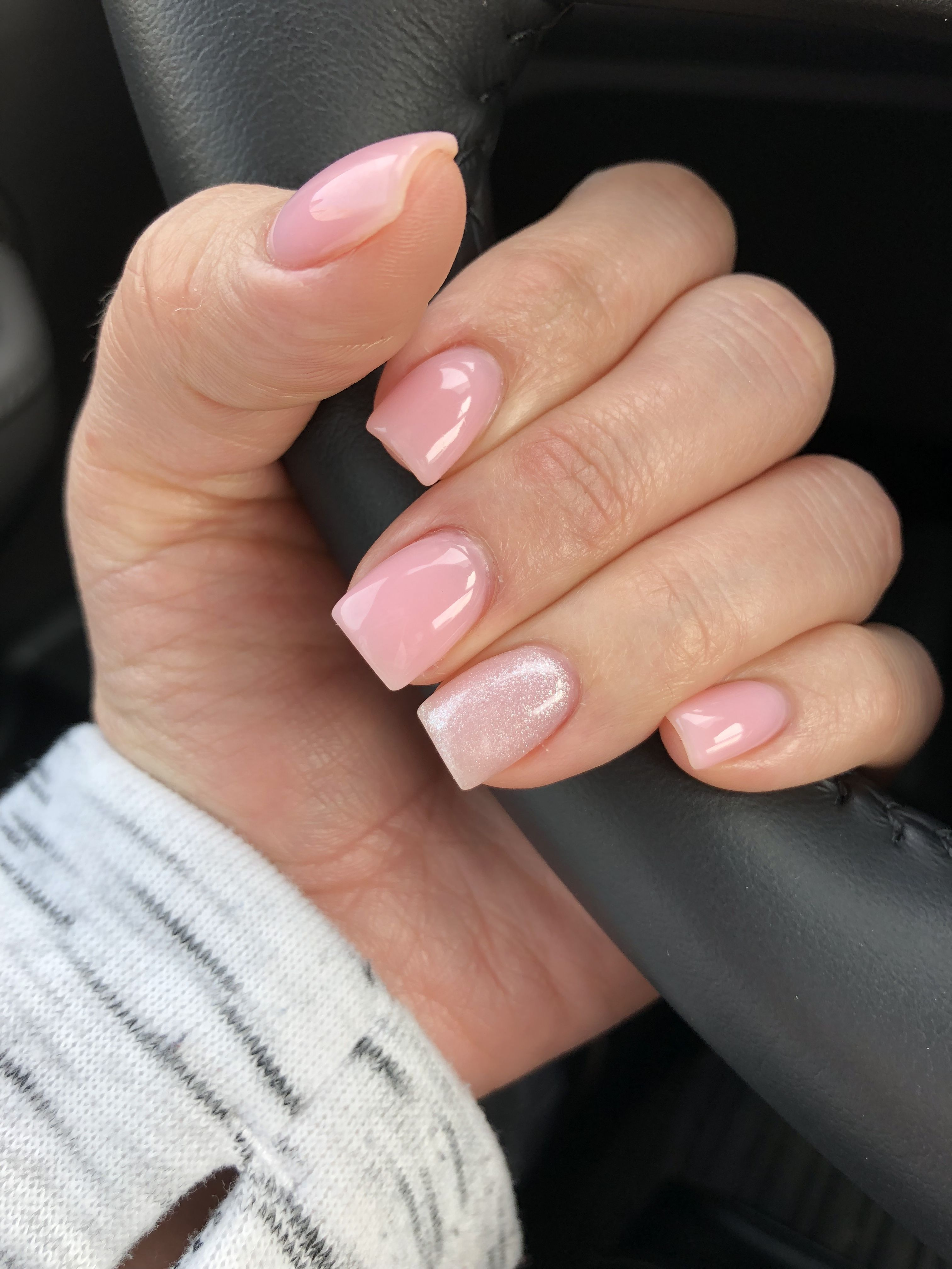 Clear Pink And Pink Glitter Nails Pink Glitter Nails Pink Acrylic Nails Pink Clear Nails