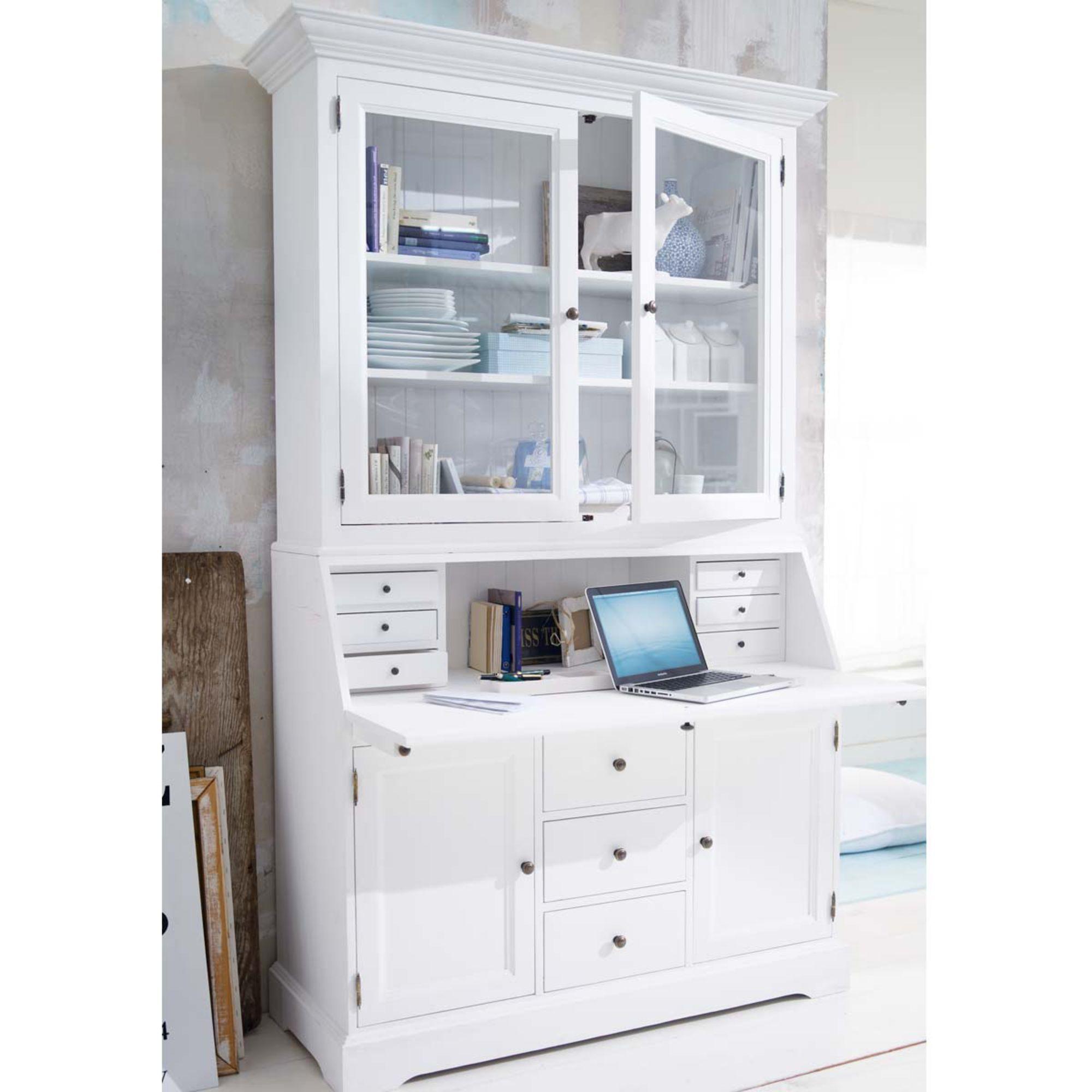 Sekretär, weiß lackiert, mit stilvoller Glasvitrine. | Möbel ...