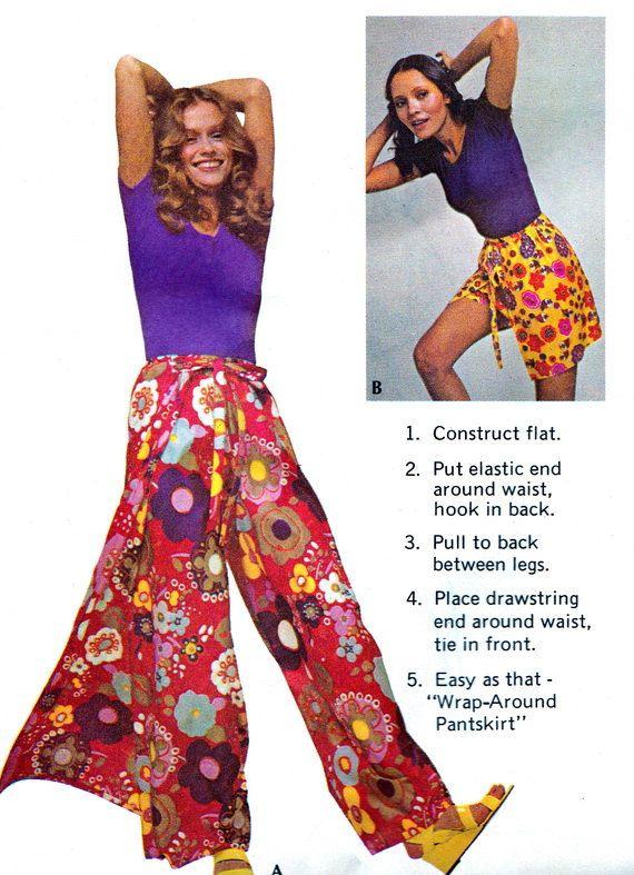 1970s Womens Pants Pattern McCalls 3230 Boho Wrap Pants or Wrap ...