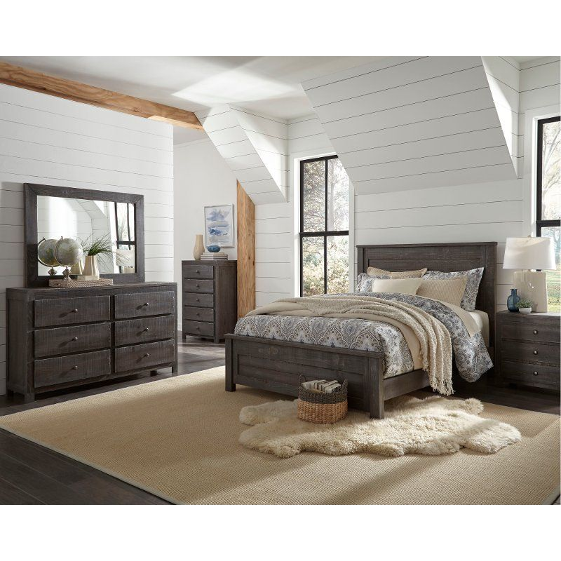Rustic Charcoal Gray 4 Piece Queen Bedroom Set - Wheaton ...