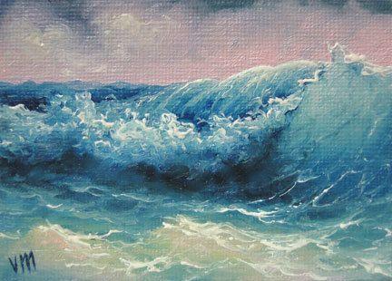 The Blue Wave  ACEO  original oil painting. by vladimirmesheryakov, $69.99