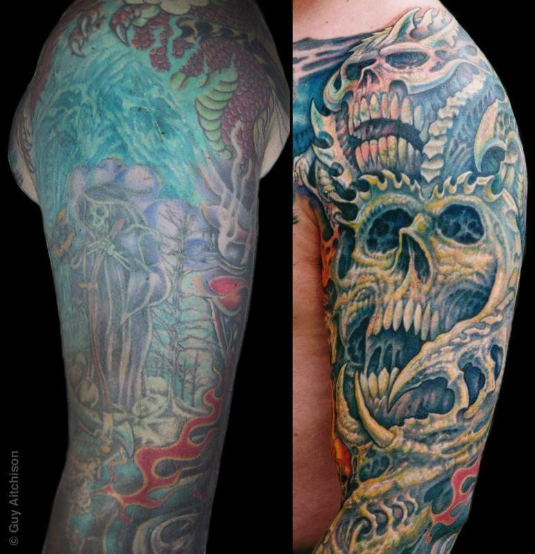 Guy Aitchison Tattoos Coverup Robert Upper Arm Closeup Arm Cover Up Tattoos Cover Up Tattoos For Men Tattoos For Guys