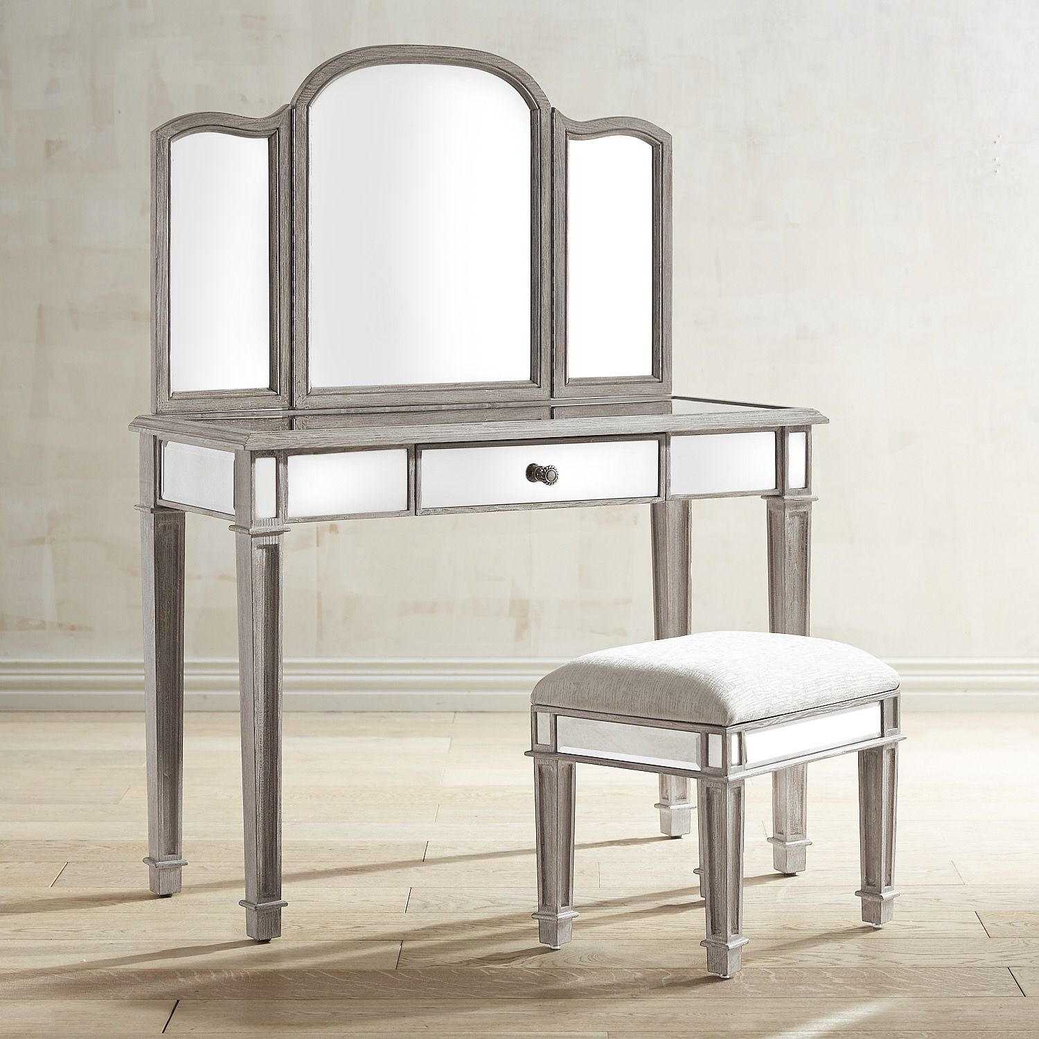 Astonishing Hayworth Weathered Oak Mirror Vanity Set Vanities Gmtry Best Dining Table And Chair Ideas Images Gmtryco