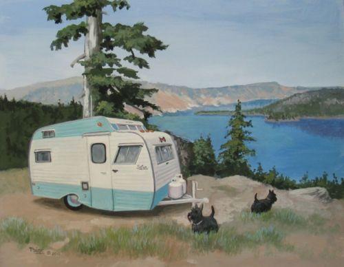 Vintage Serro Scotty Trailer Rv Scottish Terrier Crater Lake State Park Art Camper Art Vintage Trailers Serro Scotty