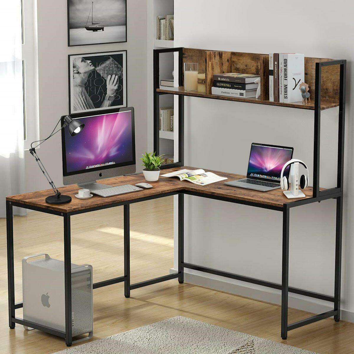 Industrial LShaped Desk Bookshelf 55 Corner Computer Gaming Table  Industrial LShaped Desk Bookshelf 55 Corner Computer Gaming Table