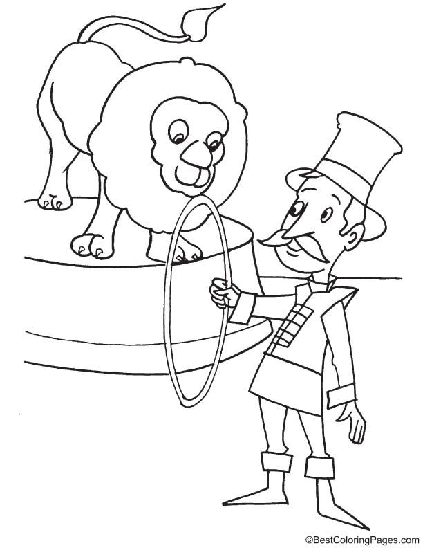Ring Master With Lion Coloring Page Lion Coloring Pages