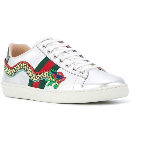 c4df5398c64f Lace Up Heels. Flat. Gucci Ace dragon embroidered sneakers (1 010 AUD) ❤  liked on Polyvore featuring shoes