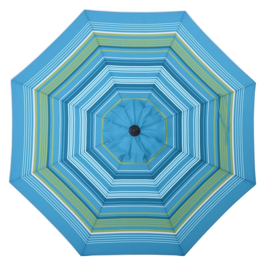 Allen Roth Teal Green Stripe Market Patio Umbrella Common