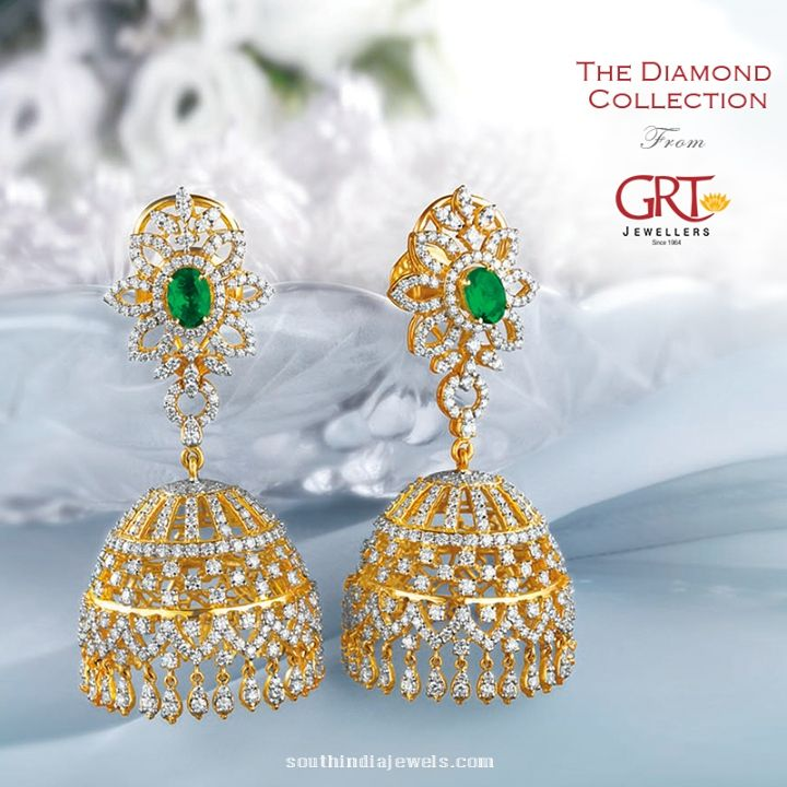 earrings hansini at buy net t diamond chic womens gold white jhumka jewellery