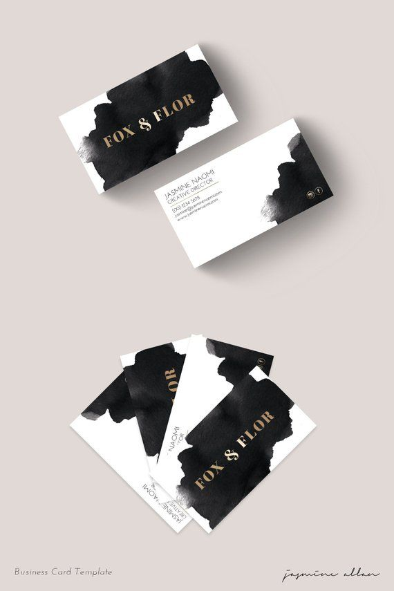 Premade Business Card, Watercolor Business Card, Entrepreneur Branding, Black and Gold, Edgy Minimalist Branding, Printable Business Card