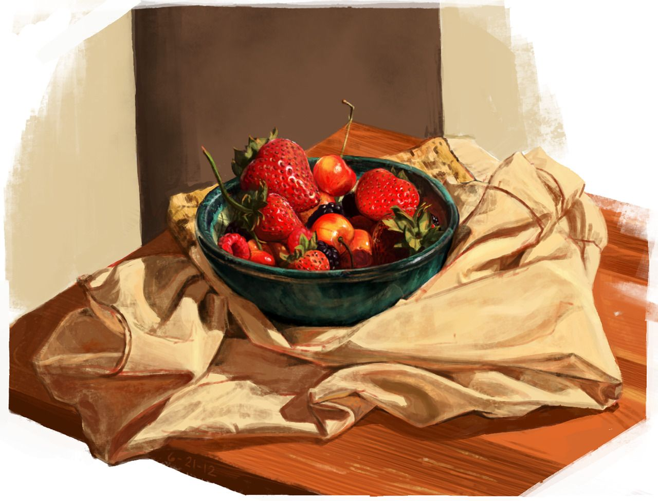Fruit Life.The temptation to eat this before I finished drawing it was excruciating. - #art #digital #Fruit #life #Still