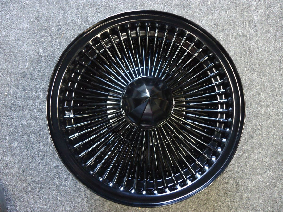 14 Dayton Black 14X7 Wire Wheels Full Set Rims New Knockoff 100 ...