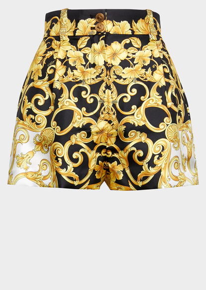 Photo of Versace High Waisted Gold Hibiscus Print Shorts for Women   US Online Store