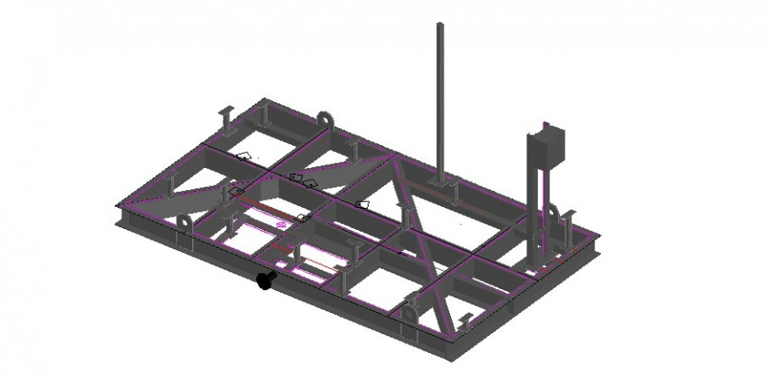 Wash basin connection plumbing 3d structure drawing