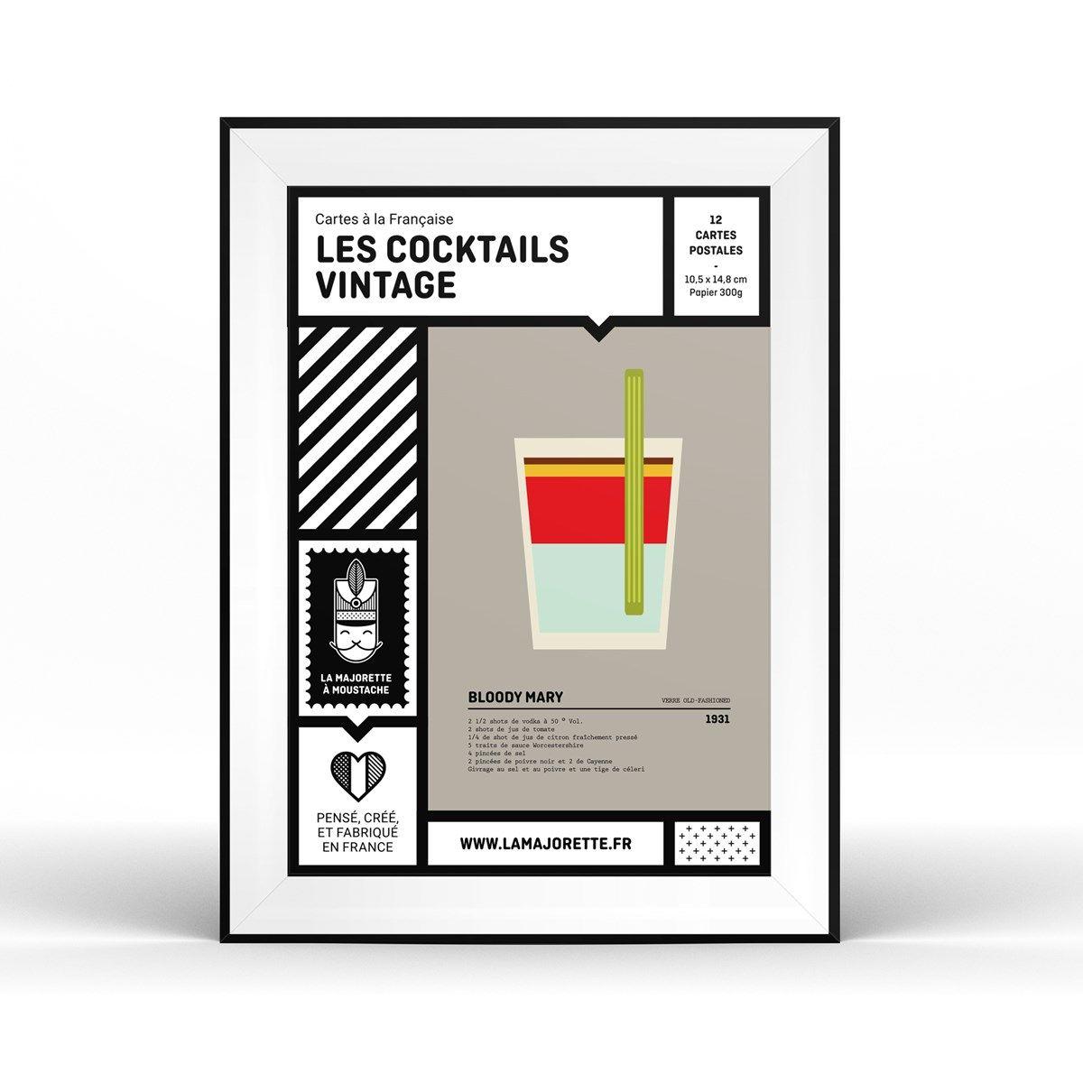 Etui 12 Cartes Postales Cocktails Vintage 10 5 X 14 8 Cm