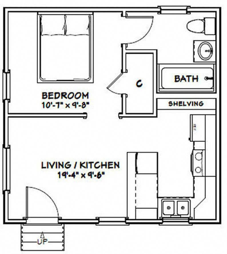20x20 Tiny House 1 Bedroom 1 Bath 400 Sq Ft Pdf Floor Plan Instant Download Model 1c In 2021 Small House Floor Plans Small House Plans Tiny House Floor Plans