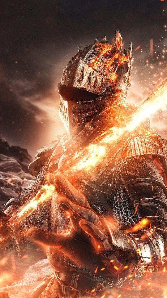 Fire and sword, Dark Souls, video game, warrior, 540x960