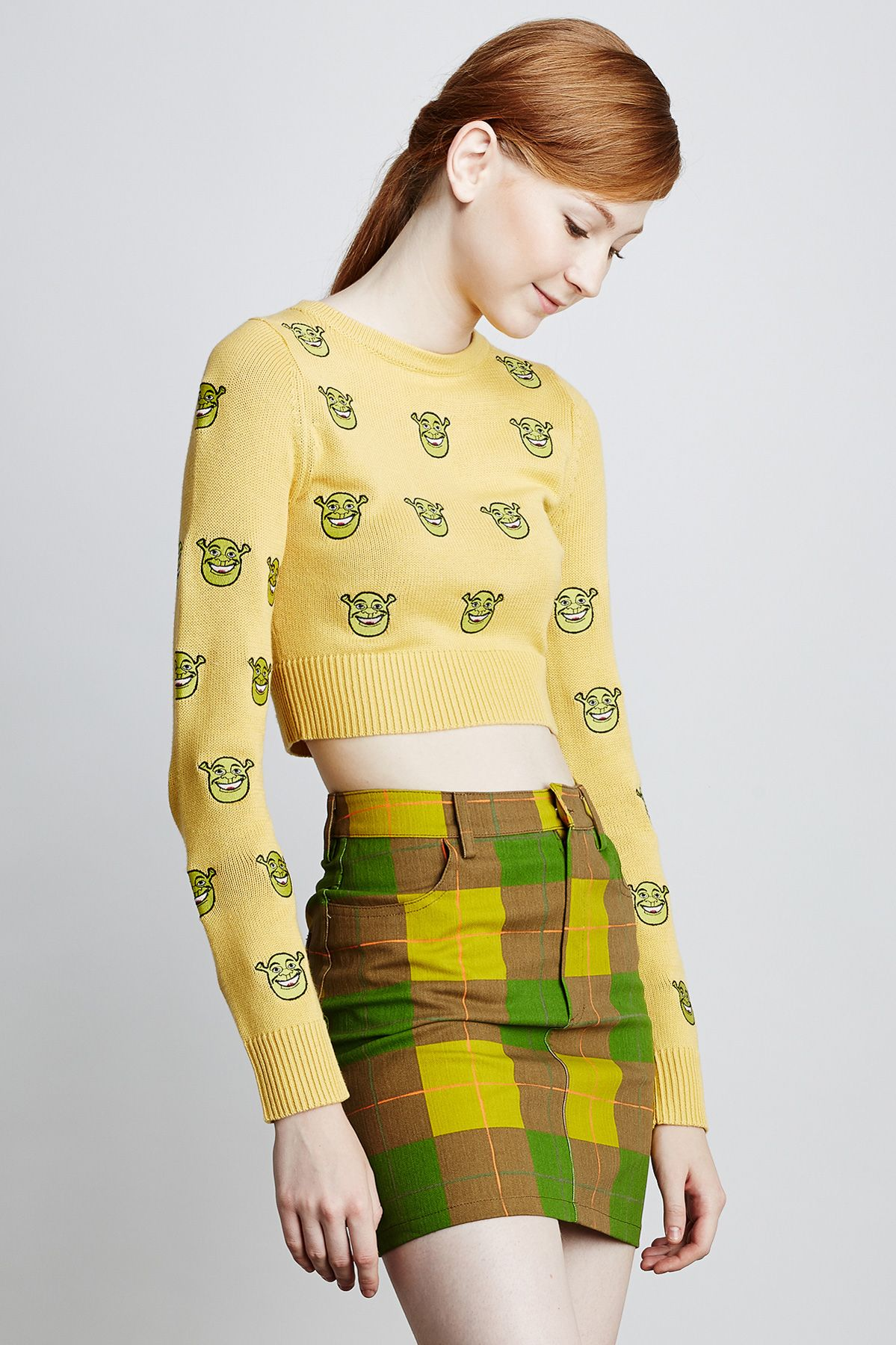 SHREK FACE EMBROIDERY KNIT CROPPED TOP - Google zoeken | Asos ...