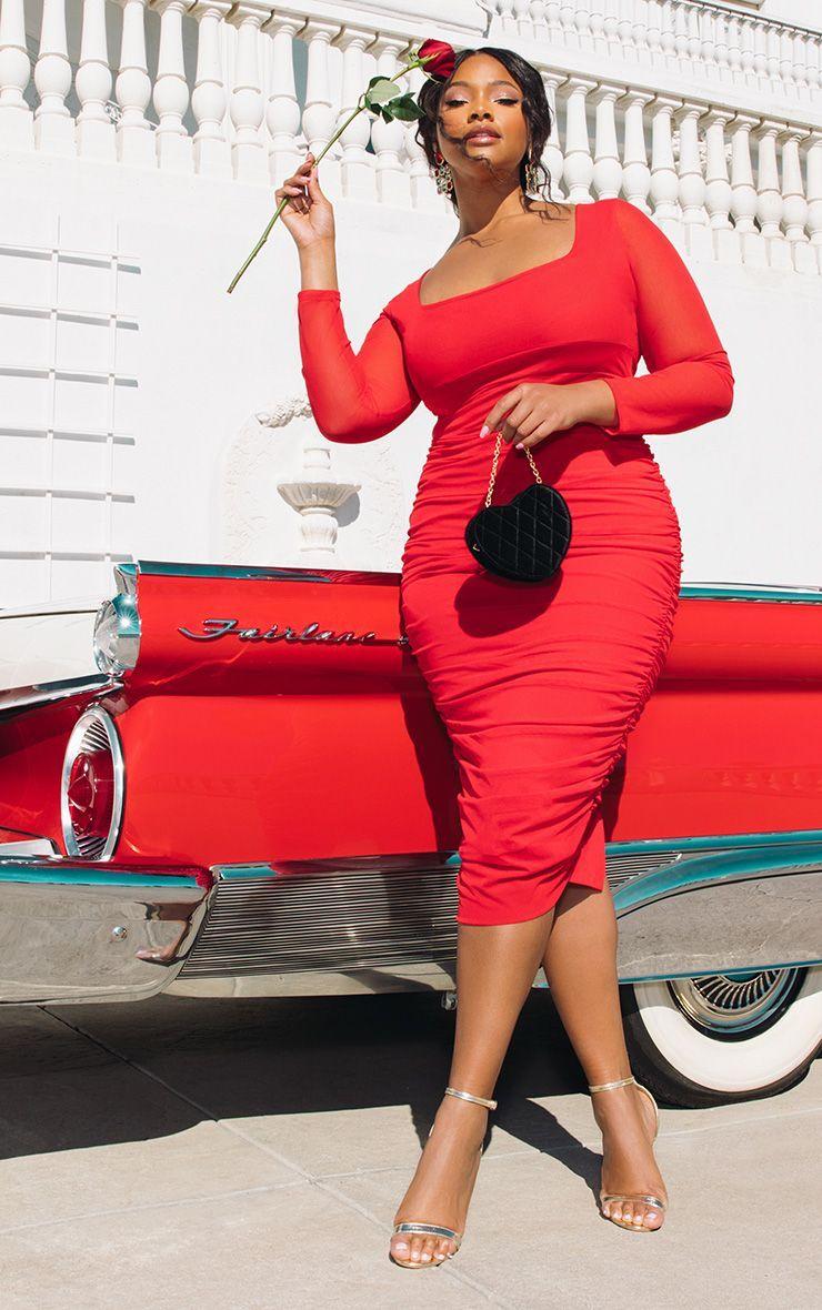 Plus Red Mesh Ruched Midi Dress | Plus size red dress, Midi ...