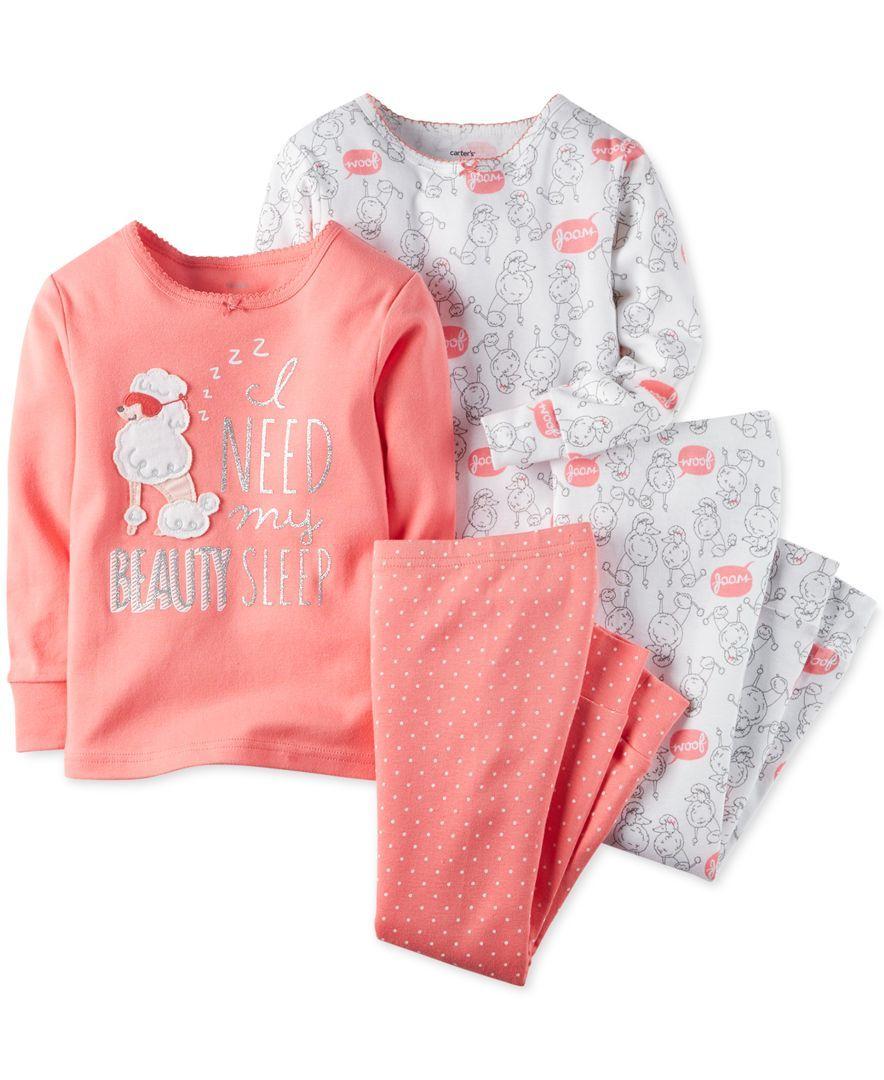 96a029174 Carter s Baby Girls  4-Piece Poodle Beauty Sleep Pajamas