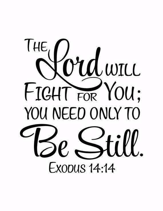 Exodus 14:14 The Lord will fight for you; you need only be still - Vinyl Wall Art Decal Bible Verse Scripture Religious Decal - EX14V14-0001