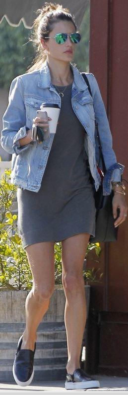 Alessandra Ambrosio wearing Ray-Ban 3025 Aviator Large Metal sunglasses in Green Mirror 7 for All Mankind Denim jacket in Light Destroyed Mansur Gavriel Bucket Bag