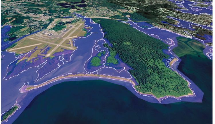image of long island sound   ... of 36 inches of sea level rise. Courtesy of Long Island Sound Study