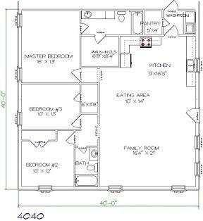 Barndominium Cost 3 Bedroom 2 Bathroom 40x40 Barndominium Floor Plans Metal House Plans Barndominium Plans