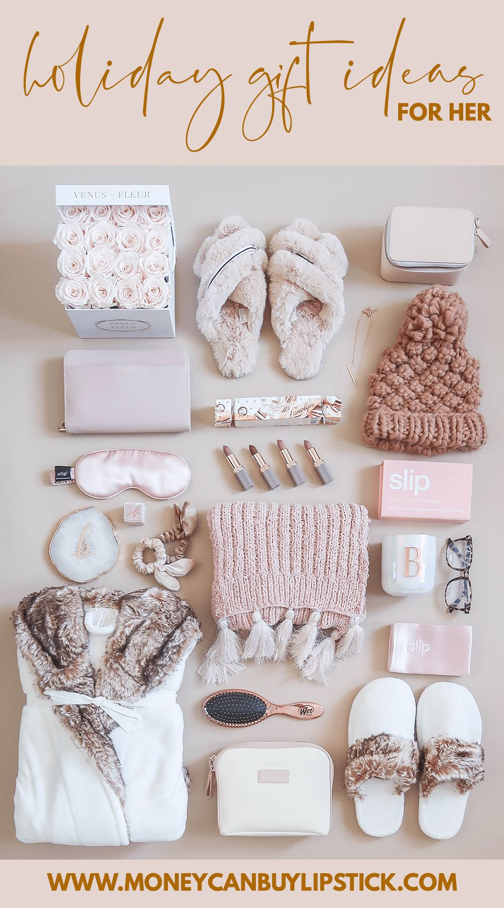 Holiday Gift Ideas For Her Holiday gift ideas for her What to buy the woman in your life for Christmas Gift ideas include faux fur slippers a cozy robe pretty lipstick a...