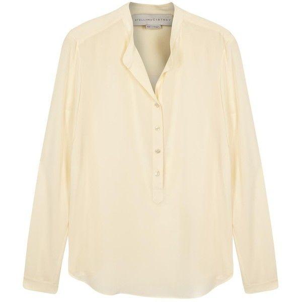 ef9b4fc98e83bb Womens Long-Sleeved Tops Stella McCartney Eva Cream Silk Blouse (£385) ❤