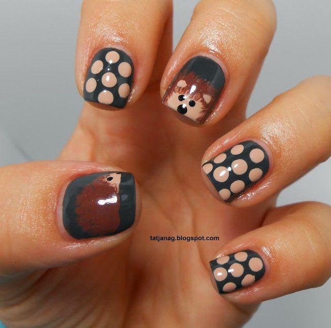 Inspiring Cool Fall Autumn Toe Nail Art Designs: #Hedgehog #nails #nailart