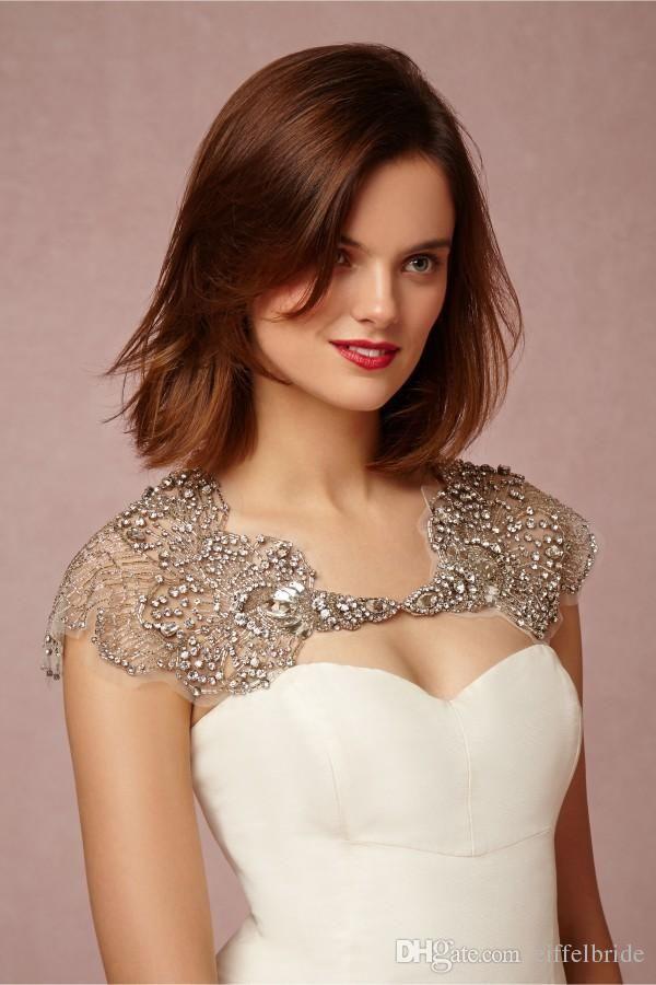 Ivory Crystals Bridal Wraps Jackets Bolero Rhinestone Wedding Wrap Bateau Neck Illusion Sleeves Custom Made Size Capes