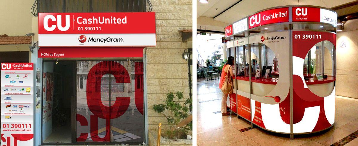 Cash United - Enseignage / Conception d'un kit d'enseignage et d'habillage des vitrines sur le réseau de plus de 100 distributeurs agréés © ACO Design
