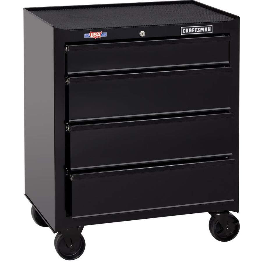 Craftsman 1000 Series 26 5 In W X 32 5 In H 4 Drawer Ball Bearing Steel Tool Cabinet Black Lowes Com Tool Cabinet Tool Steel Tool Chest