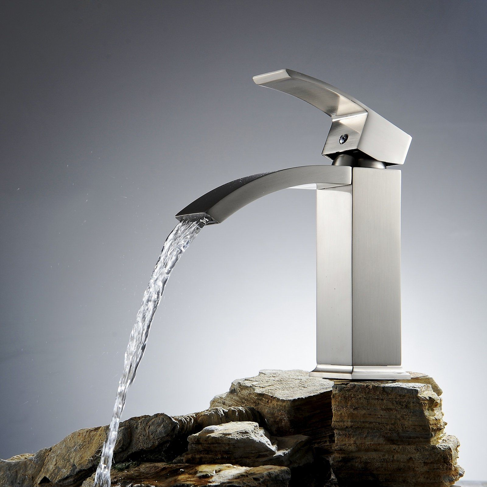 Greenspring Waterfall Single Handle Bathroom Sink Vessel Faucet ...