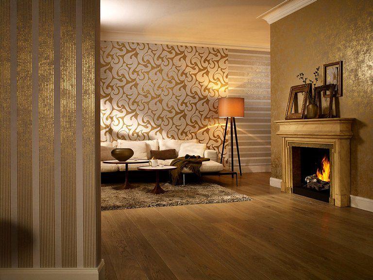 Tapeten-Trends - Moderne Muster für die Wand - wandgestaltung wohnzimmer orange