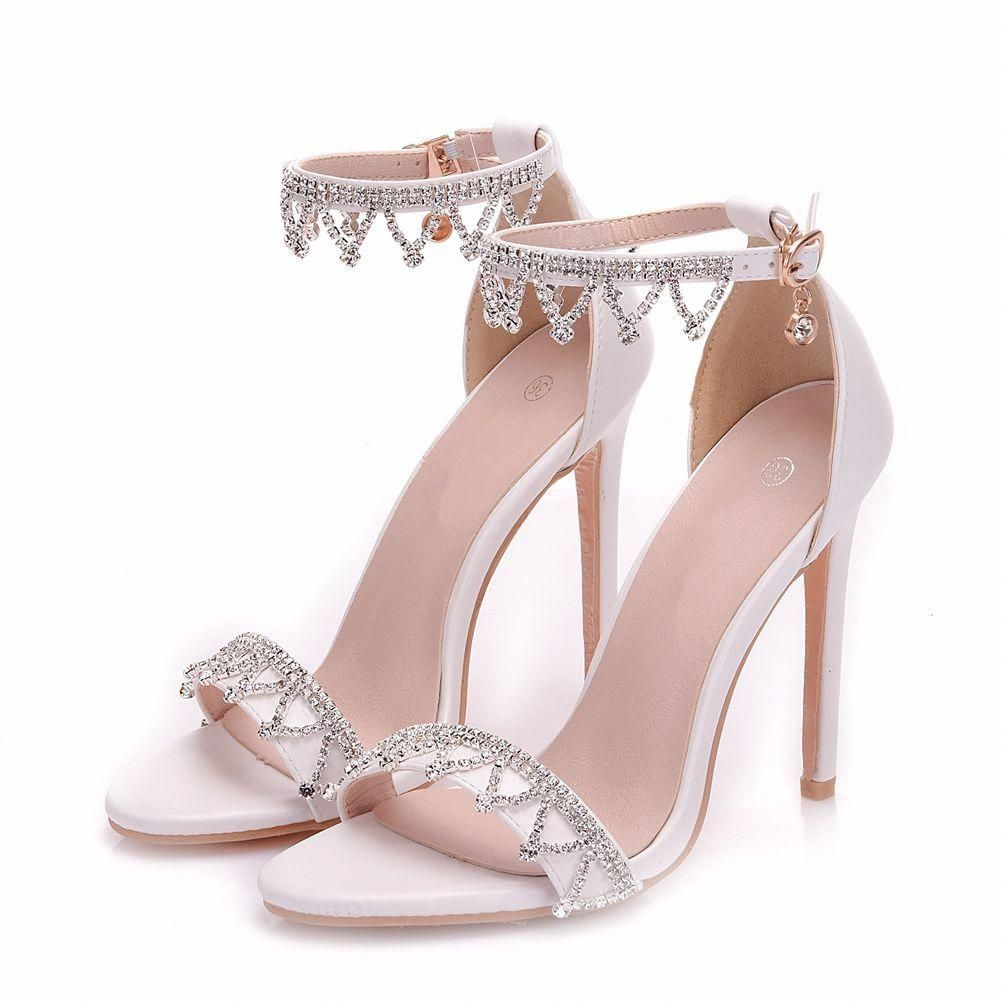 1c64e6ed57c Shoespie White Rhinestone Stiletto Heels #Stilettoheels   Shoes ...