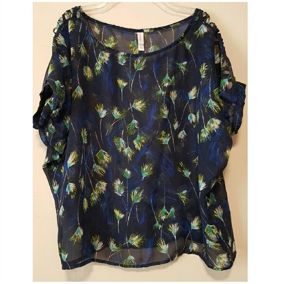 Beautiful sheer print blouse Sheer navy blue loose fit blouse with a pretty (feather? Floral?) print. Pretty criss cross sleeve detail. Juniors size M, I feel this fits like a misses S. Great condition! Xhilaration Tops Blouses