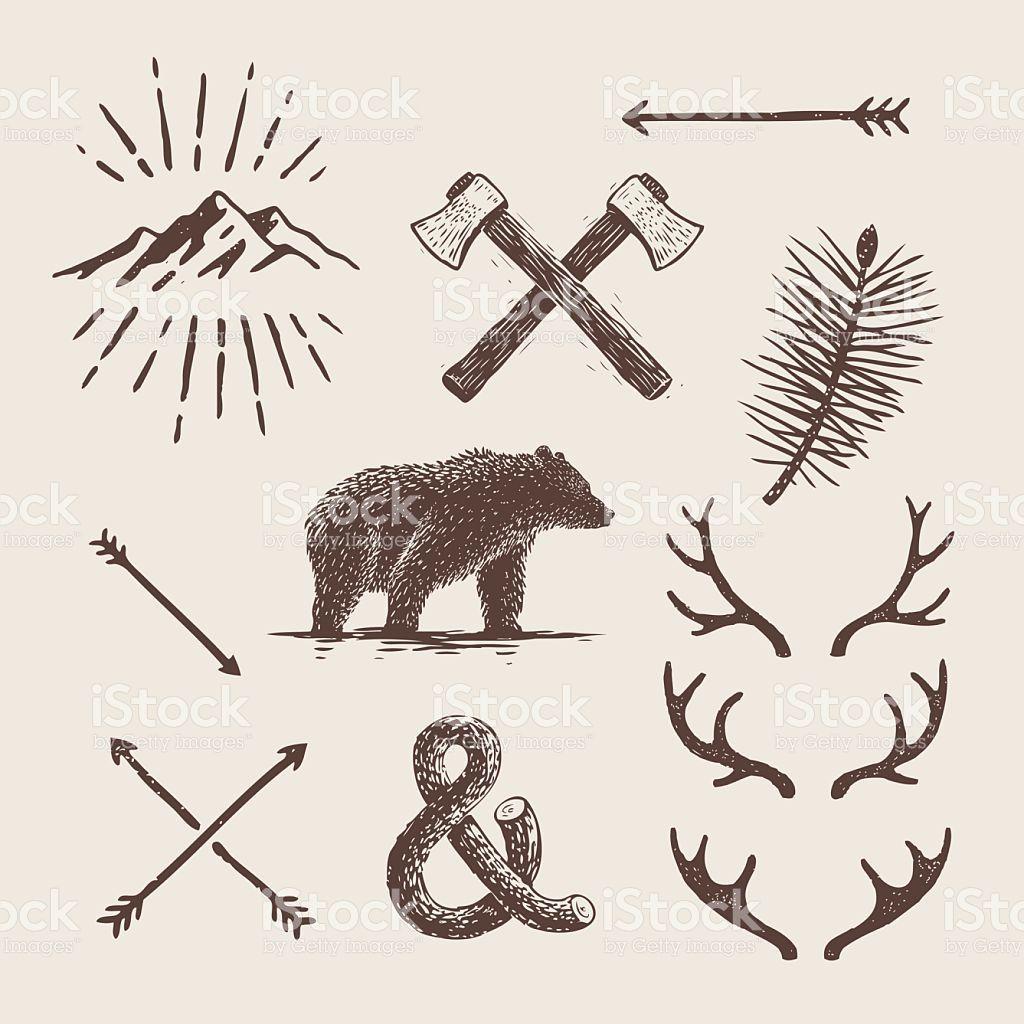 Block print illustrations about Alaska Free vector art