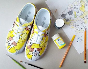94c799edcd5e9 Yellow painted shoes. Full of dogs, Jack Russell Terrier ...