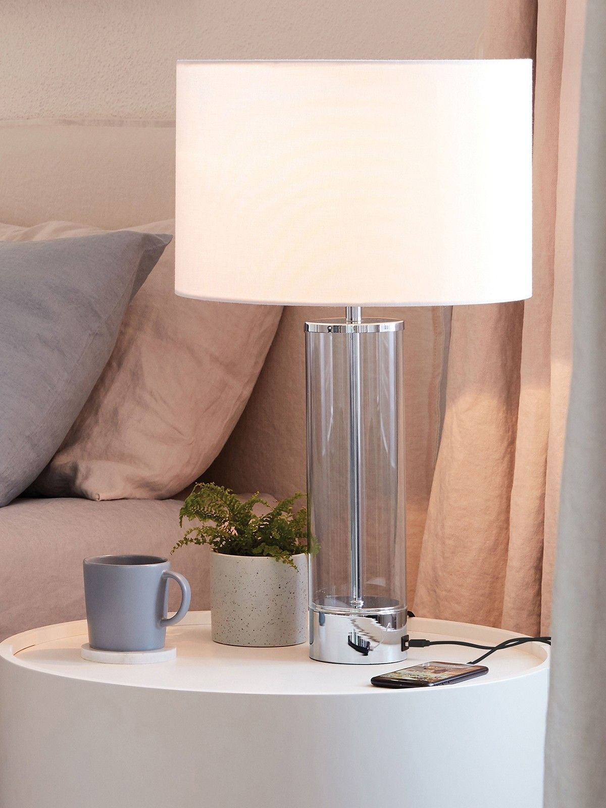Corian 1 Light Touch Table Lamp In Chrome Clear With Usb Port