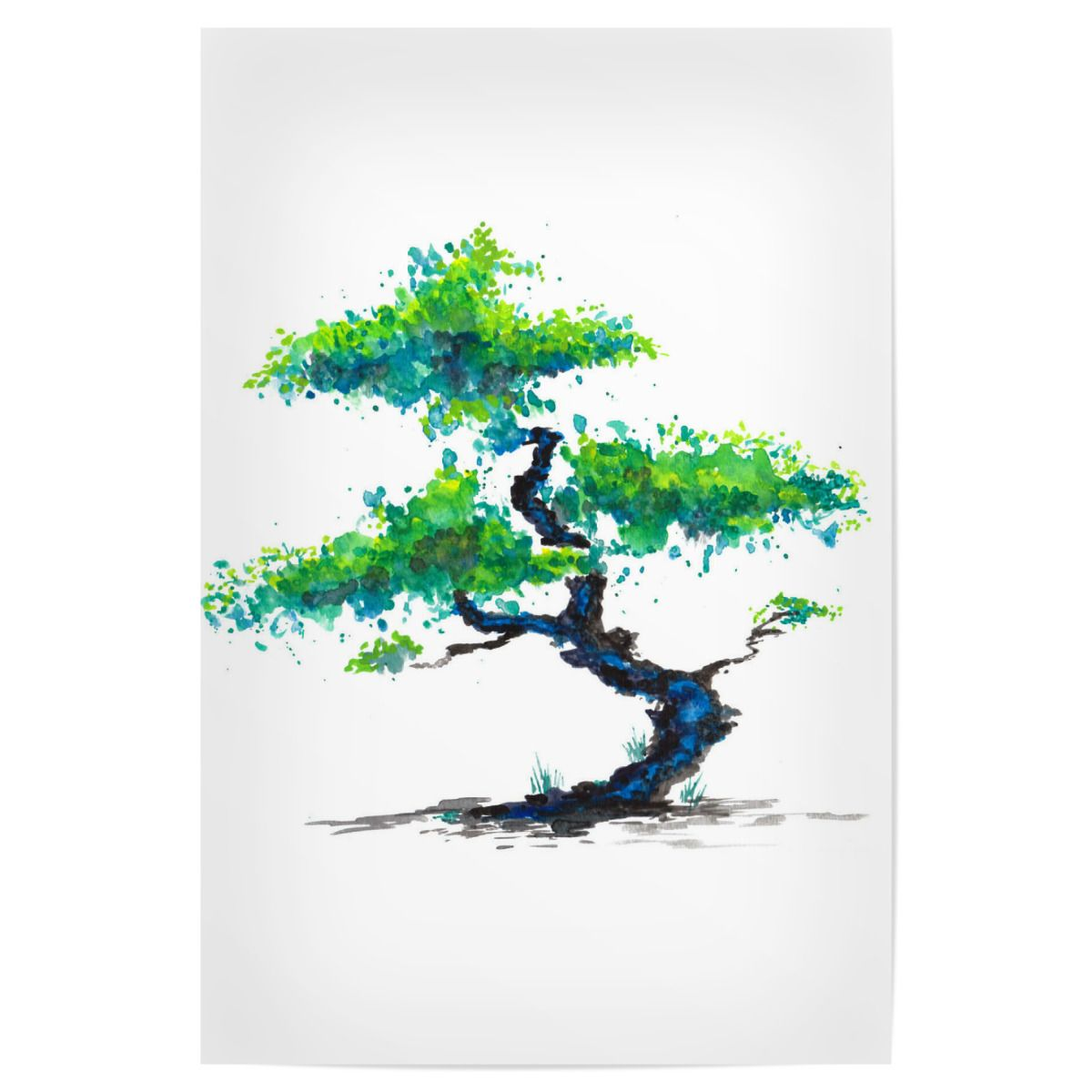 Blauer Bonsai Premium Poster - #ZeichenbloQ #artboxone #poster #artprints #homedecor #bonsai #japanese