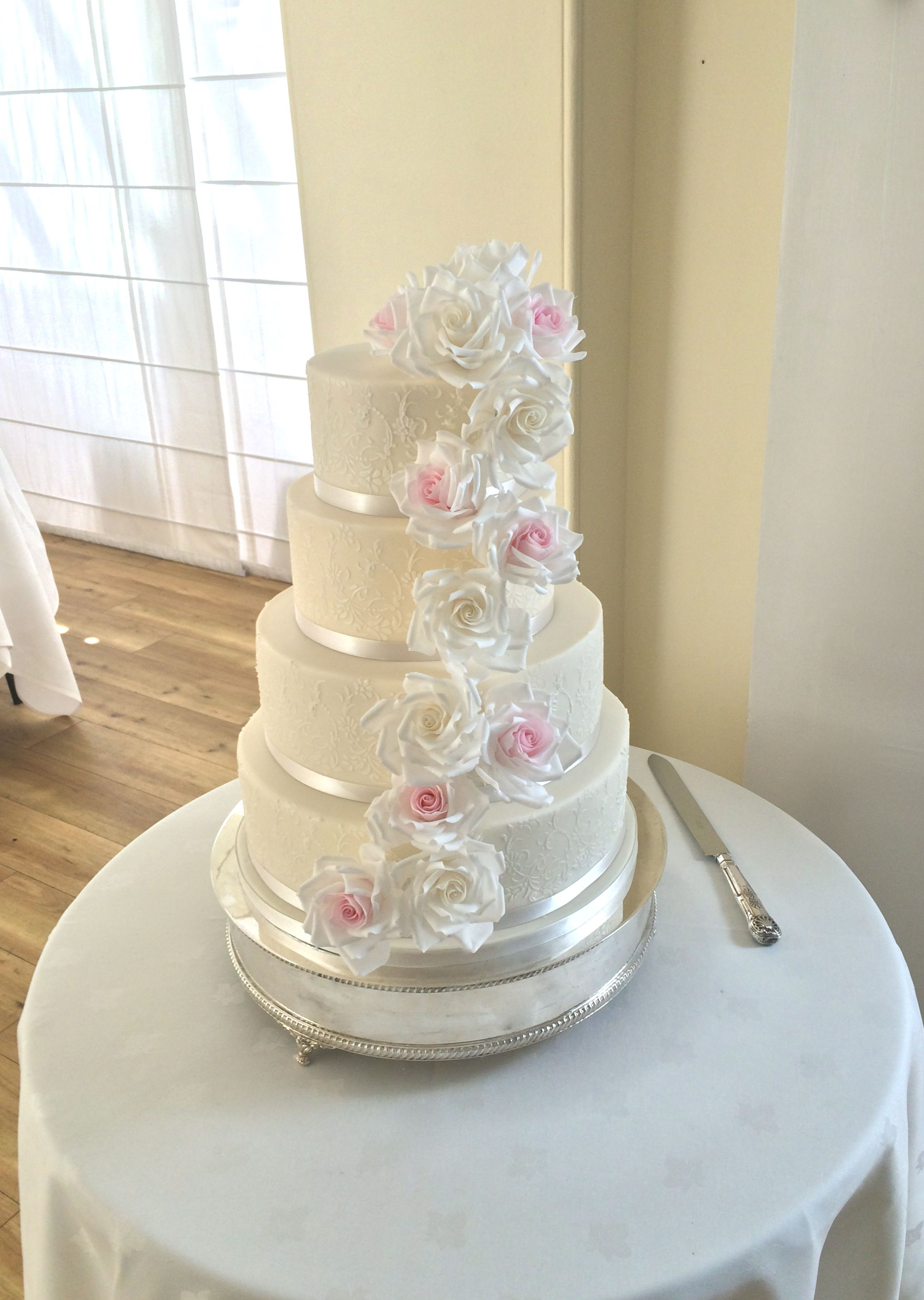 Sugar Rose Cascade Cake in pink and white | Wedding Cakes ...