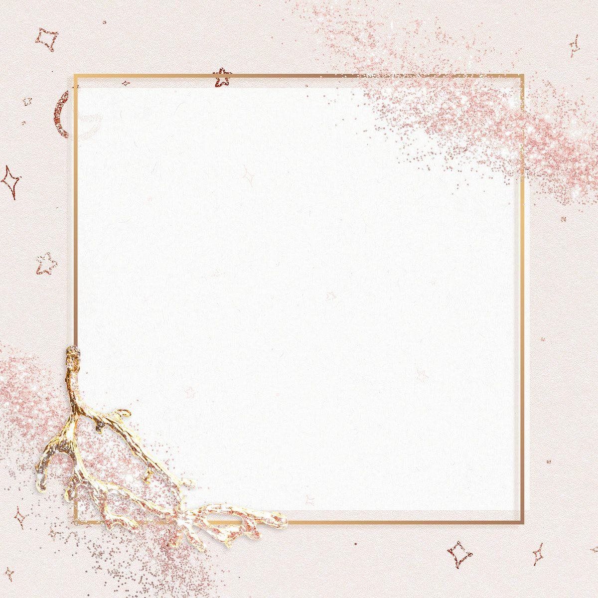 Download Premium Illustration Of Sparkly Frame Psd On Glitter Pink Glitter Frame Pink Background Pink Frames
