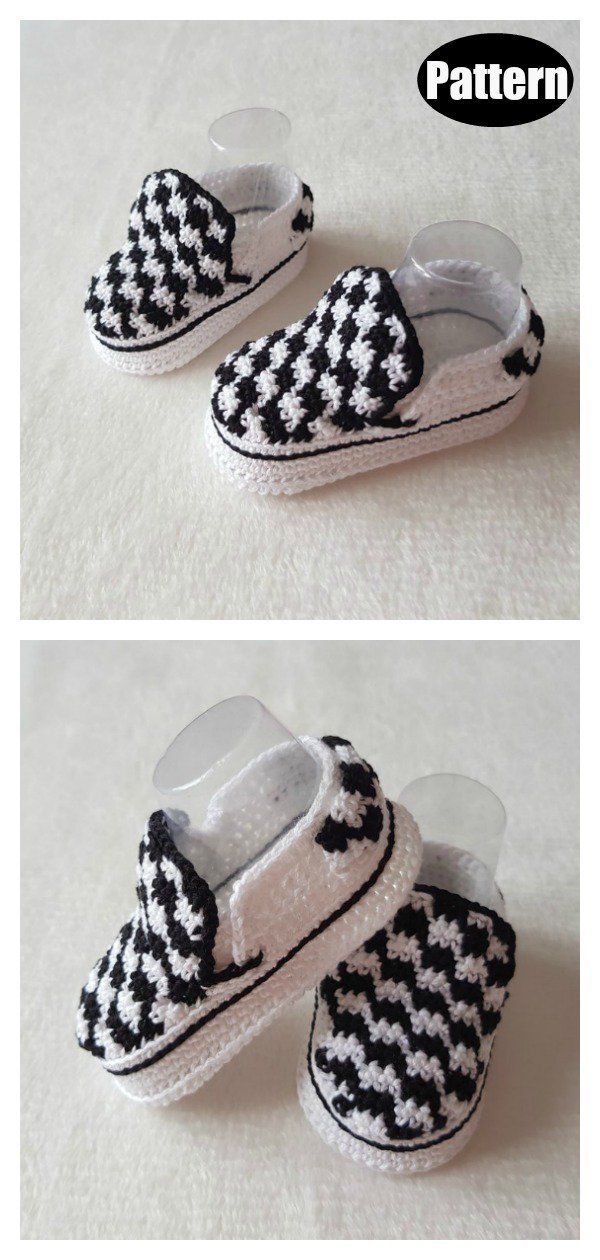 Vans Style Baby Booties Crochet Pattern #crochetbabyboots