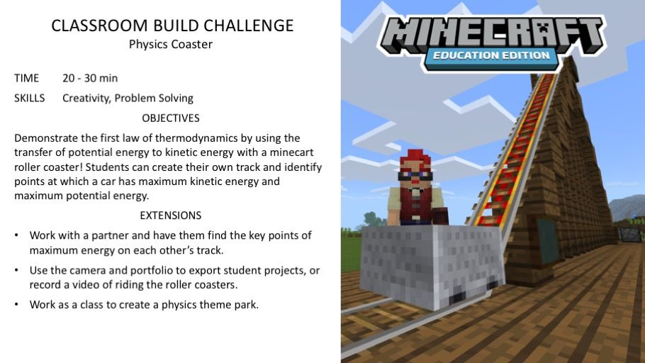 Activity Of The Week Physics Coaster Minecraft Education Edition Minecraft Activities Education Activities