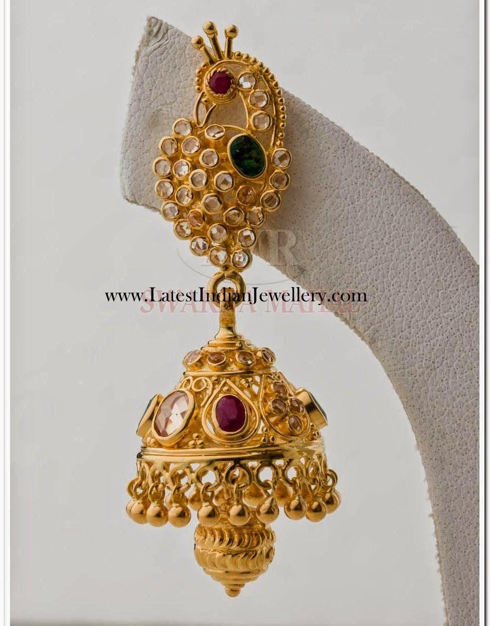Uncut Diamond Jhumka Earring in Peacock Design | Uncut diamond ...
